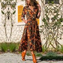 Seluxu 2019 Autumn Dress Women Casual Long Sleeve Bandage Floral Print Boho Beach Vintage Shirt Dresses