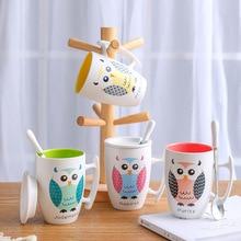 Color owl coffee Mug 350ml,Novelty Birthday Gifts Mugs Office coffee cup Drinkware,Cute Cartoon Coffee Milk Tea Cup