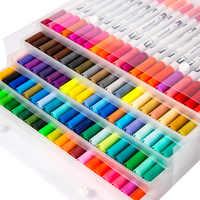 Pontas duplas 100 cores pincel fino marcador baseado tinta aquarela pincel esboço arte marcador caneta para manga desenho escola suprimentos