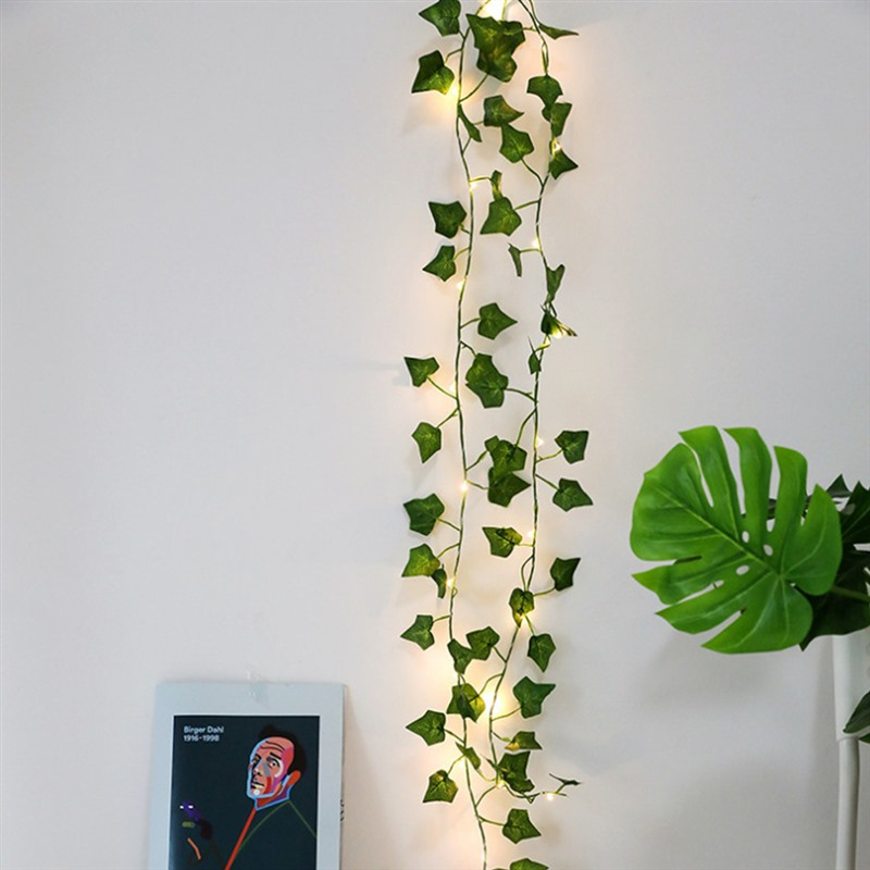 2M 20LED Battery Powered LED Light String Artificial Flowers Tree Vine Copper Wire Lamp Lights String Simulation Green Leaf Tree
