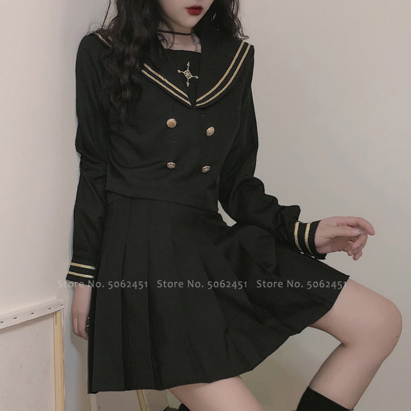 Japanese Style Girl Tops Pleated Skirt JK Suit Kawaii Navy Sailor Tshirt High School Uniform Women Academy Anime Cosplay Costume