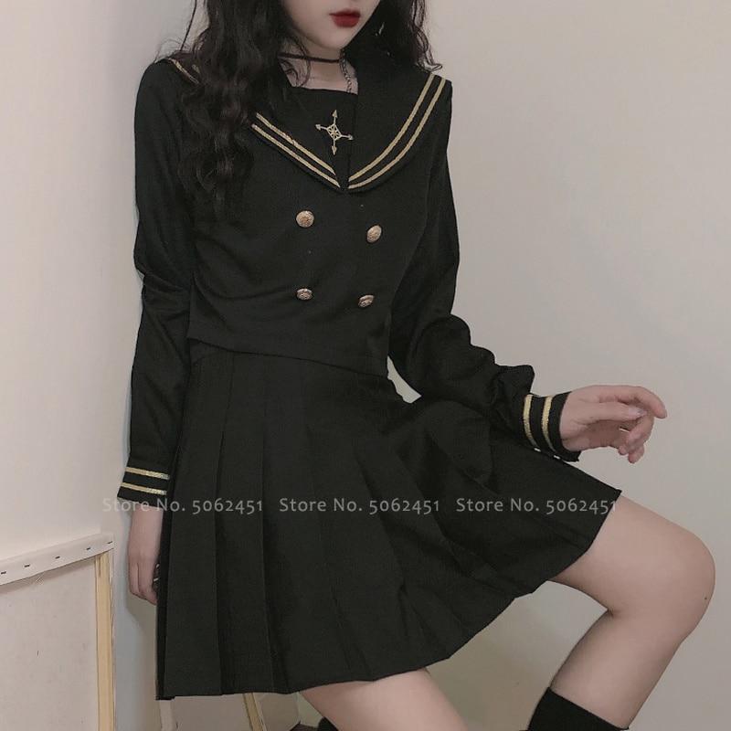 Japanese Style Girl Tops Pleated Skirt JK Suit Kawaii Navy Sailor Tshirt High School Uniform Women Academy Anime Cosplay Costume
