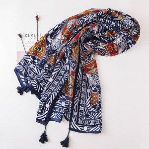 Image 4 - Frühling und Sommer Neue Korea Retro Nationalen Stil Thailand Reise Sonnencreme Schals Geometrische Schal Schals für Frau