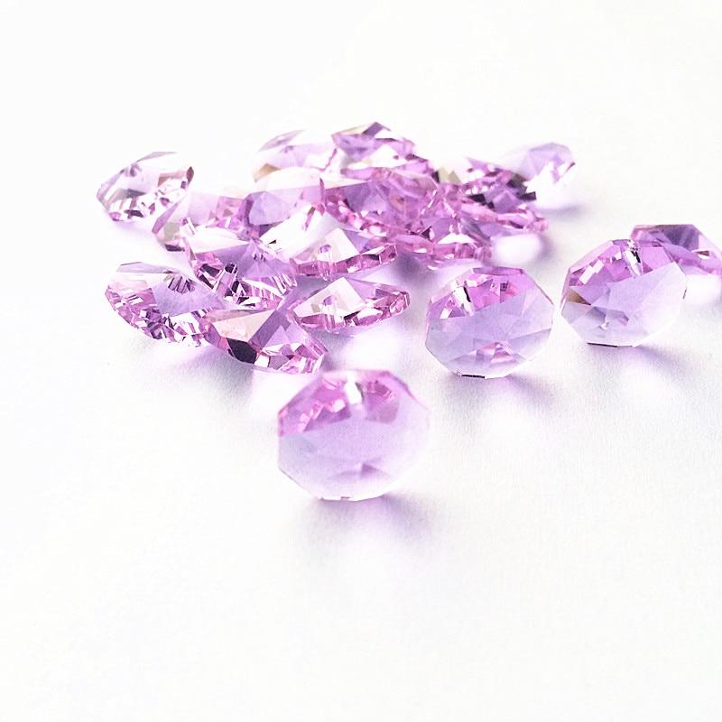 Высокое качество 20 шт./лот многоцветный 14 мм хрустальные Восьмиугольные бусины в одном отверстии K9 кристаллы части для люстры аксессуары DIY Свадебные и x-дерево украшения - Цвет: Lilac
