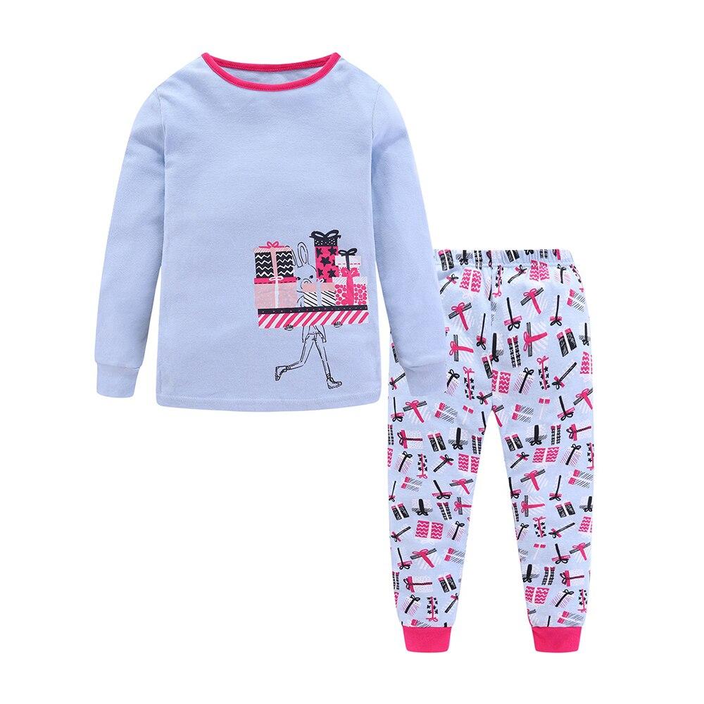 Mudkingdom Girls Boys Pajama Set Long Sleeve Cute Cartoon Printing Kids Sleepwear Home Set Children Clothes 4