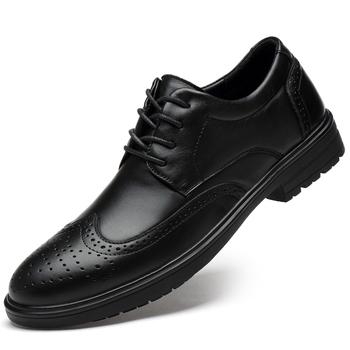 mens casual business office formal dress genuine leather shoes gentleman carving brogue shoe lace-up bullock sneakers sapatos