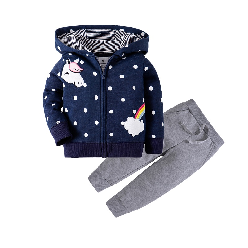 Одежда для маленьких девочек пальто с капюшоном с длинными рукавами и вышитым единорогом+ штаны, г. Весенняя одежда для маленьких мальчиков комплект для малышей, одежда для малышей - Цвет: 11