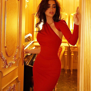 Image 3 - 2020 가을 새로운 여성 드레스 한 어깨 긴 소매 붕대 드레스 섹시한 Bodycon 복장 유명 인사 파티 블랙 레드 드레스 Vestidos