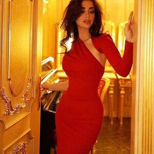 Image 3 - Vestido de otoño ajustado de manga larga, Bodycon, celebridad, fiesta, negro y rojo, novedad, 2020