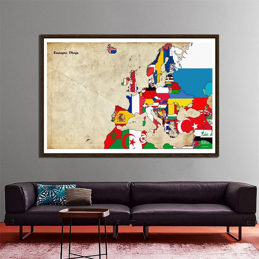 Non-woven Europe Decor Map Home Office School Wall Decor Painting 150x100cm Photo Studio Backdrop
