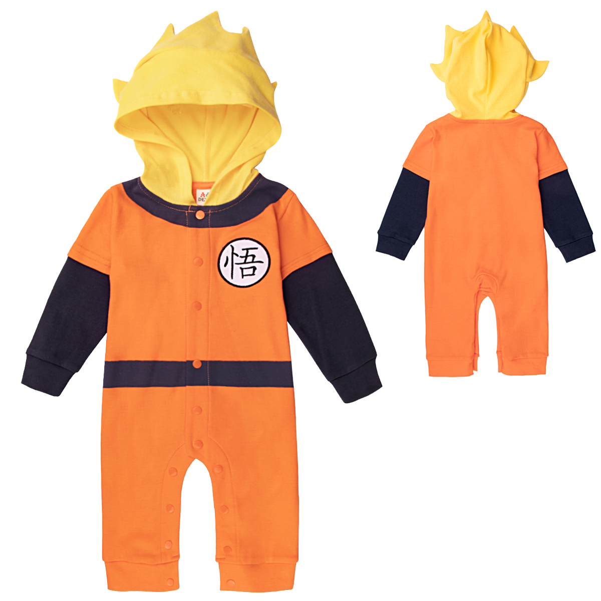 Bebê menino com capuz roupas recém-nascidos dragon ball macacão goku outfits infantil macacões bebê manga longa dos desenhos animados roupas 100% algodão