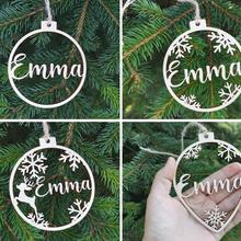 Name-Ornaments Laser-Cut Gift Christmas-Baubles-Set Wooden Custom PERSONALISED Hanging