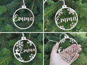 Personalized name ornaments Custom CHRISTMAS baubles set, Wooden hanging PERSONALISED gift, Laser cut snowflakes CHRISTMAS tree