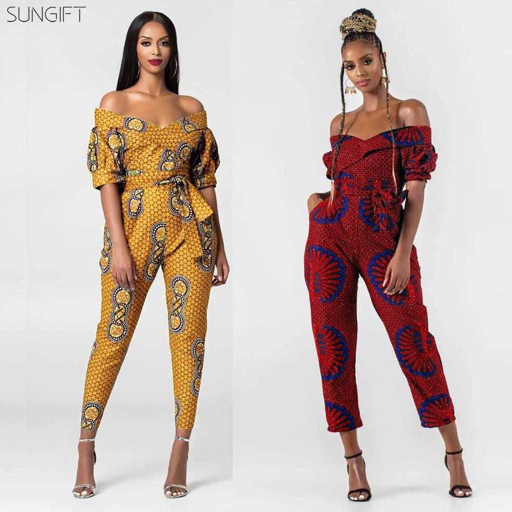 SUNGIFT Dashiki Women's African Clothes Off-shoulder Short Sleeve Print Autumn Jumpsuits Casual Sexy Fashion African Outfits