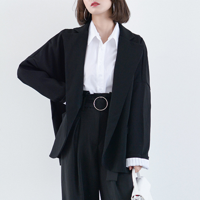 LANMREM Solid Color Long Sleeve Buttonless Pocket Loose Plus Woman Blazer Jacket Casual Fashion 2020 Spring Coat New TV332