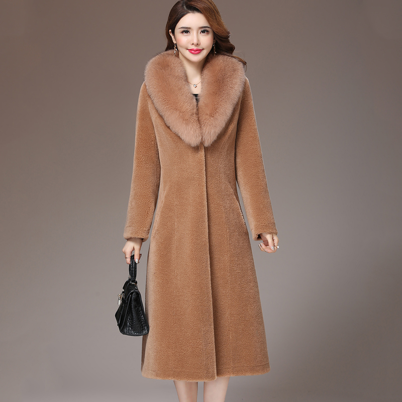 Shearling Sheep Real Fur Coat Winter Jacket Women Fox Fur Collar Wool Coat Women Long Jackets Plus Size Manteau Femme MY s image
