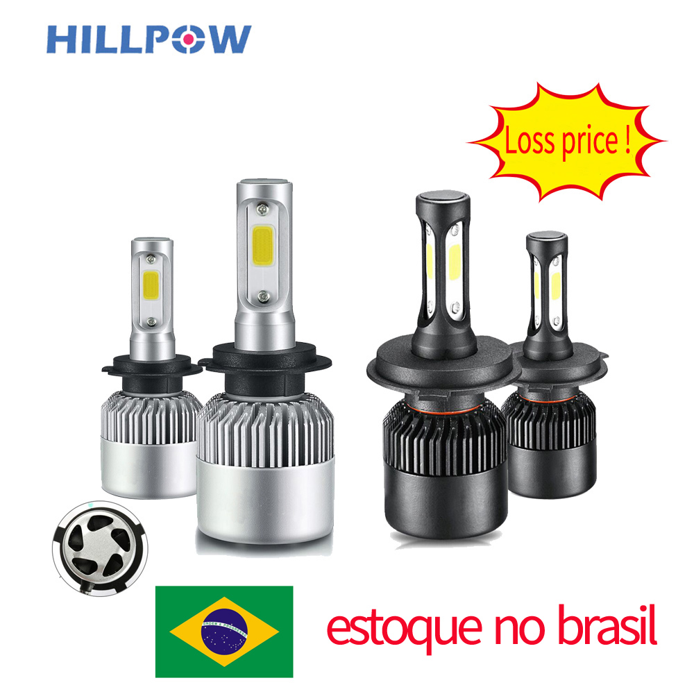 Brazil Stock Car Headlight H7 LED H4 H1 9007 9005 H3 H13 9004 880 72W 8000LM 12V Auto Headlamp 6500K Light Bulb Silver Gunmetal
