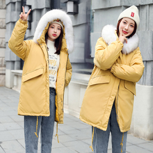 Winter jacket parkas 2019 winter new women's fashion large fur collar hooded thick cotton down jacket Russian winter coat fashion 2018 russian winter mother