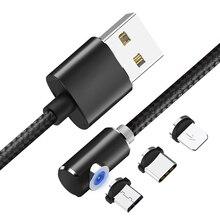 USB המגנטי טעינת כבל 1M ניילון קלוע מיקרו USB סוג C כבל עבור iPhone X XS 11 8 בתוספת מגנט מטען עבור סמסונג Xiaomi