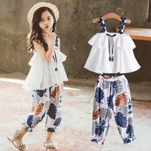 Летняя одежда для девочек, модные топы для детей, штаны с цветочным принтом, комплект из двух предметов, Детский костюм, наряды для девочек, о...