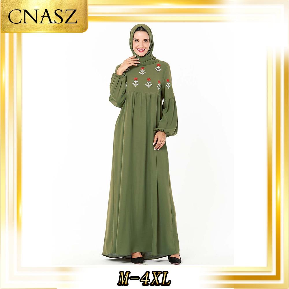 Muslim Dress Women Fashion Arabian Abaya Turkey Large Size Musulman Femme Autumn Embroidered Muslim Dress