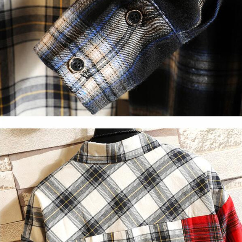 0170 Spring Autumn 2019 Plaid Shirt Men Long Sleeves Hip Hop Shirts For Men Streetwear Casual Spliced Color Loose Plus Size 5XL in Casual Shirts from Men 39 s Clothing