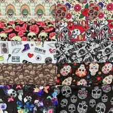 Effrayant squelette os imprimé Polyester coton tissu tissu tissu pour patchs sac vêtement maison Textile bricolage masque chemise
