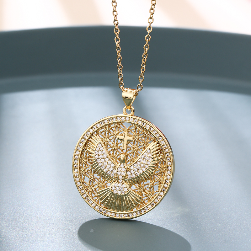 Vintage Stainless Steel Chain Gold Plated Copper Eagle Cross God Guardian Pendant Necklace Charm Female CZ Jewelry gift