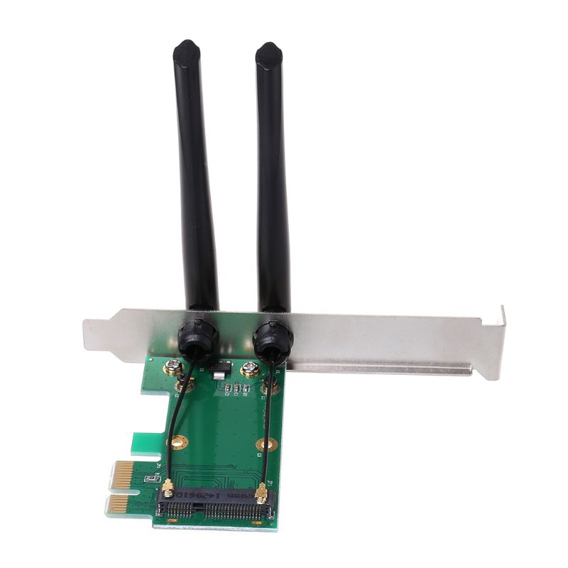 Wireless Network Card WiFi Mini PCI-E Express To PCI-E Adapter 2 Antenna External PC X6HB
