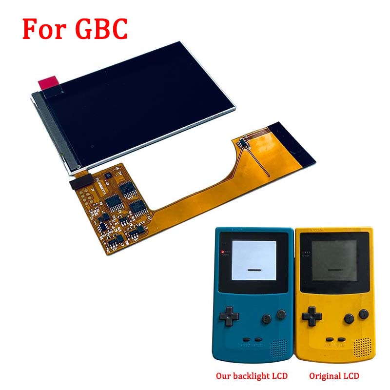 Full screen IPS Backlight LCD Kits for Nintend GBC Game Console High Light LCD screen for GBC with 6 level brightness adjustable|Replacement Parts & Accessories| |  - title=
