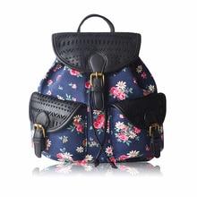 Canvas printed bag student canvas shoulder bag European and American women's hollow PU bag backpacks