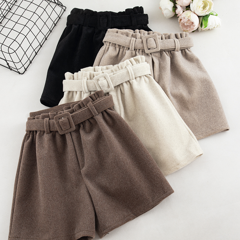 Autumn Winter Casual Shorts Women Fashion Solid High Waist Wide Leg Trouser With Sashes Female Khaki Black Fashion Bottoms