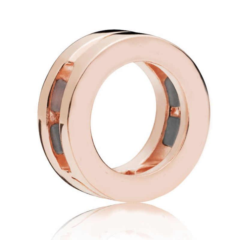 Prawdziwe refleksje różowe złoto olśniewająca elegancja Logo koło klip urok 925 srebro koraliki Fit bransoletka Pandora Diy biżuteria