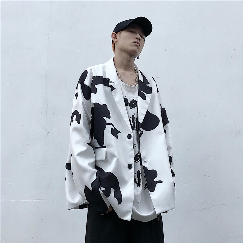 Vintage Streetwear Cow Pattern Long Sleeve Blazer Jacket Women Man Casual Single Breasted Pockets Loose Blazer Outerwear 2020