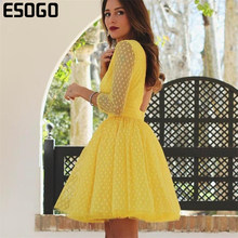 Kuning Seksi Lace Backless Pesta Gaun Merah Dot Tinggi Pinggang Bohemian Wanita Kasual Bodycon Zipper Vestido Musim Panas 2020(China)