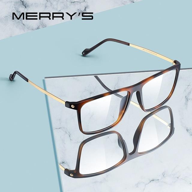 MERRYS تصميم الرجال الفاخرة TR90 إطار نظارات الرجال Vintage قصر النظر وصفة طبية النظارات S2817