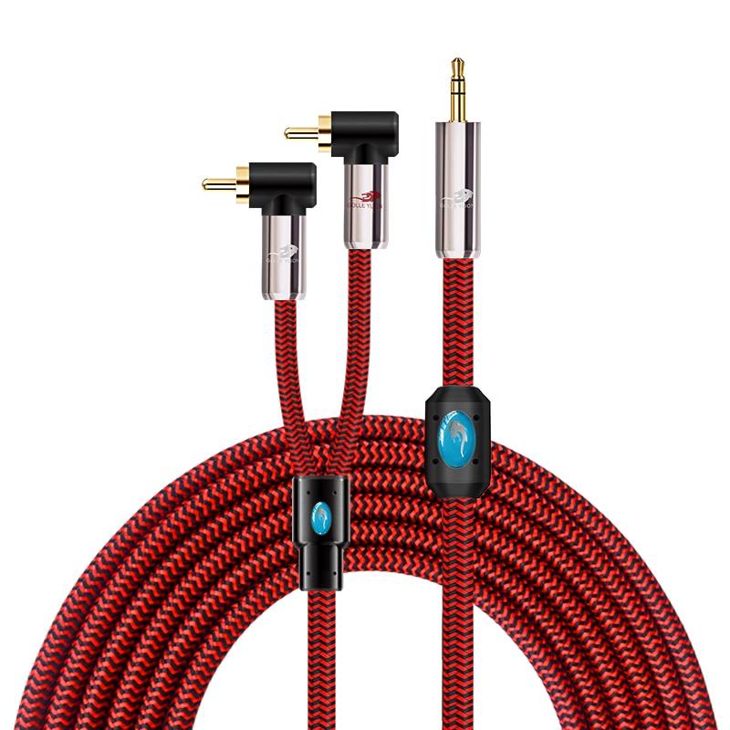 """Mini jack 3.5 a 2 cabo áudio audiófilo rca para o orador móvel 1/8 """"3.5mm da tabuleta do pc ao cabo duplo do ângulo rca 1 m 2 m 3 m 5m 8 m 12 m"""