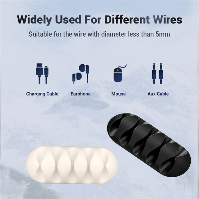 Silicone USB Cable Organizer Cable Winder Desktop Tidy Management Clips Cable Holder for Mouse Headphone Wire Organizer 5