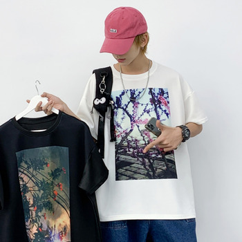 Summer Cotton T Shirt Men's Fashion Printing Casual T-shirt Men Streetwear Wild Hip-hop Loose Short-sleeved Tshirt Mens Tops summer new short sleeved shirt men fashion print casual hawaiian shirt man streetwear trend wild hip hop loose camo shirt m xl