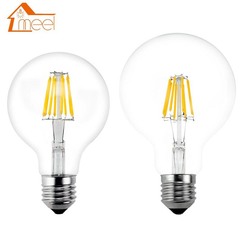 LED ampul E27 Retro lambalar 220V 240V LED Filament işık G80 G95 G125 cam küre Bombillas LED ampul Edison mum ışığı 4W 6W 8W