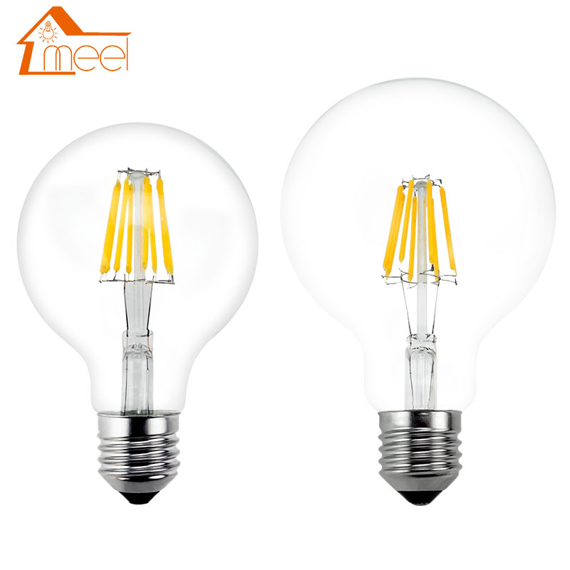 Светодиодный светильник E27 в стиле ретро, 220 В, 240 в, лампа накаливания G80, G95, G125, стеклянный шар, светодиодный светильник, 4 Вт, 6 Вт, 8 Вт