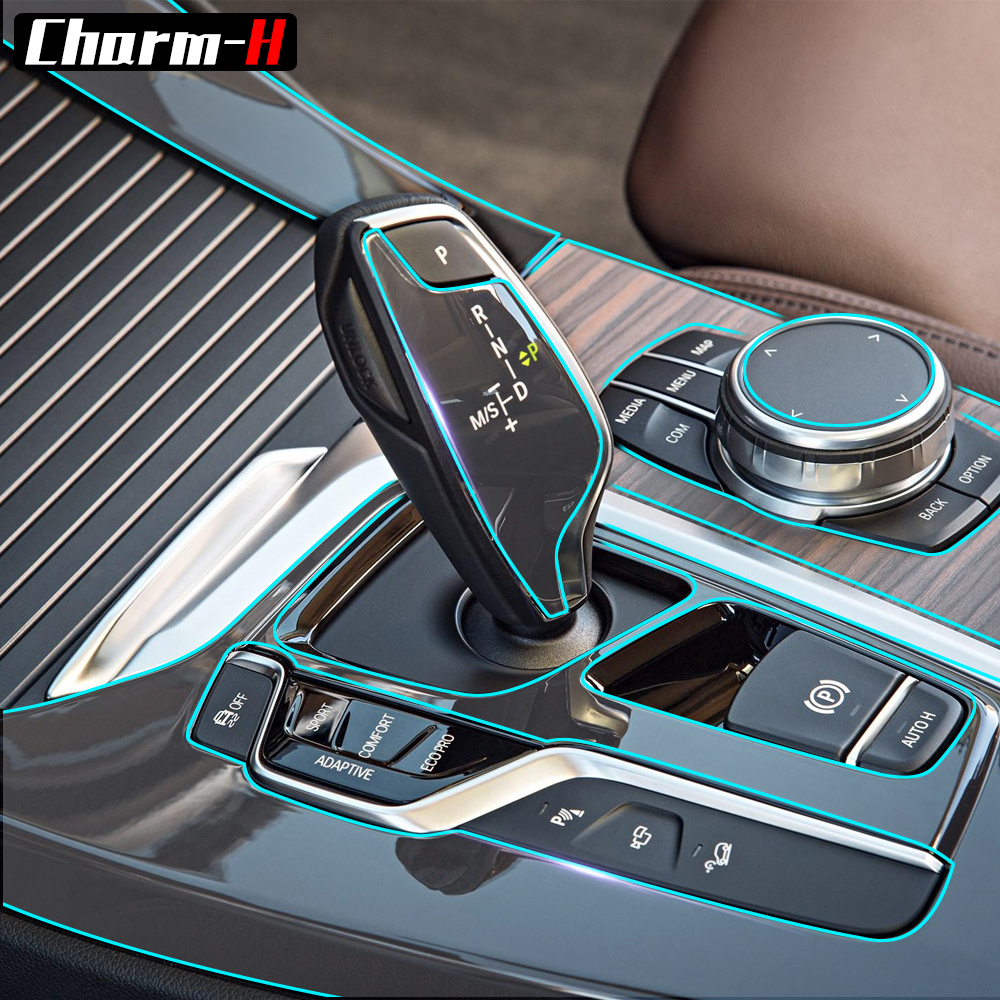 Invisible Center Console Gear Shift Knob Interior Trim TPU Protective Film Sticker for BMW X3 G01 2018 Car Styling Accessories