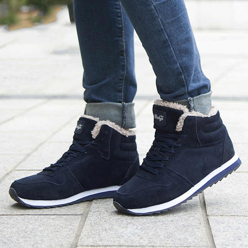 Mannen Laarzen Winter Schoenen Plus Size 46 Enkellaarsjes Warm Bont Heren Winter Sneakers Winter Laarzen Pluche Heren Schoenen Winter snowboots