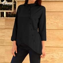 Plus Size Stylish Tops Women Asymmetrical Tunic Shirt Celmia Summer Cotton Linen Blouses Casual Button Loose 3/4 Sleeve Blusas