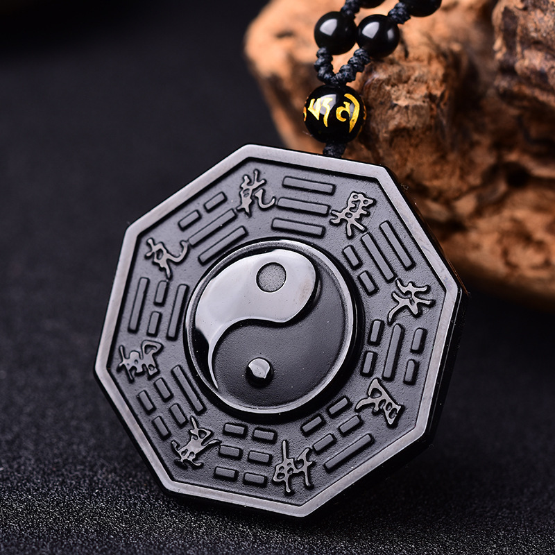Black Natural Obsidian Chinese Style Yin Yang Necklace Pendant For Men Women Pendant Fine Jewelry Party Gift in Pendants from Jewelry Accessories