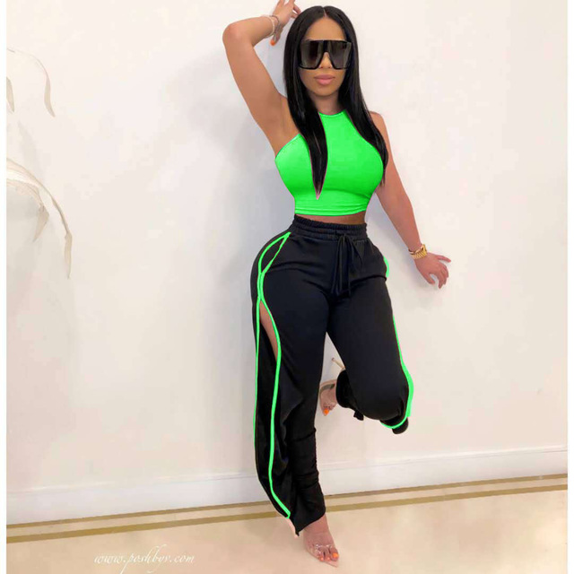 2020 Women 2 Piece Set Sexy Off The Shoulder Tops and Long Trousers Woman Pants Two Pieces Solid Outfits 6