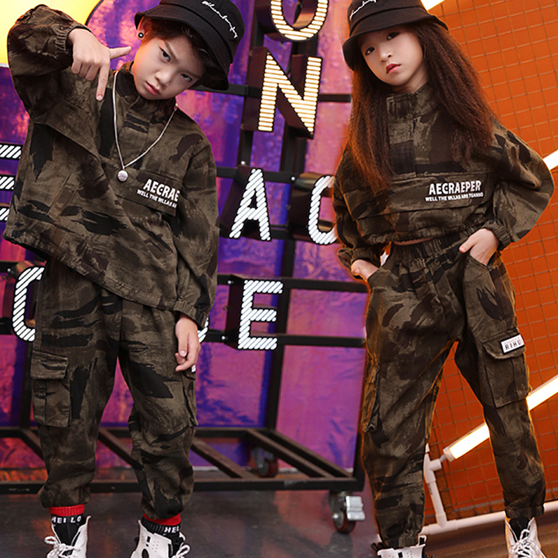 Kids Hip Hop Clothes Camouflage Suit Girl'S Special Soldier Walk Show Jazz Street Dance Performance Costume Boy'S Hip Hop B1242