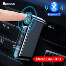 Baseus Car AUX Bluetooth 5,0 adaptador 3,5mm Jack receptor de Audio inalámbrico manos libres Bluetooth Kit de coche para teléfono Auto transmisor(China)