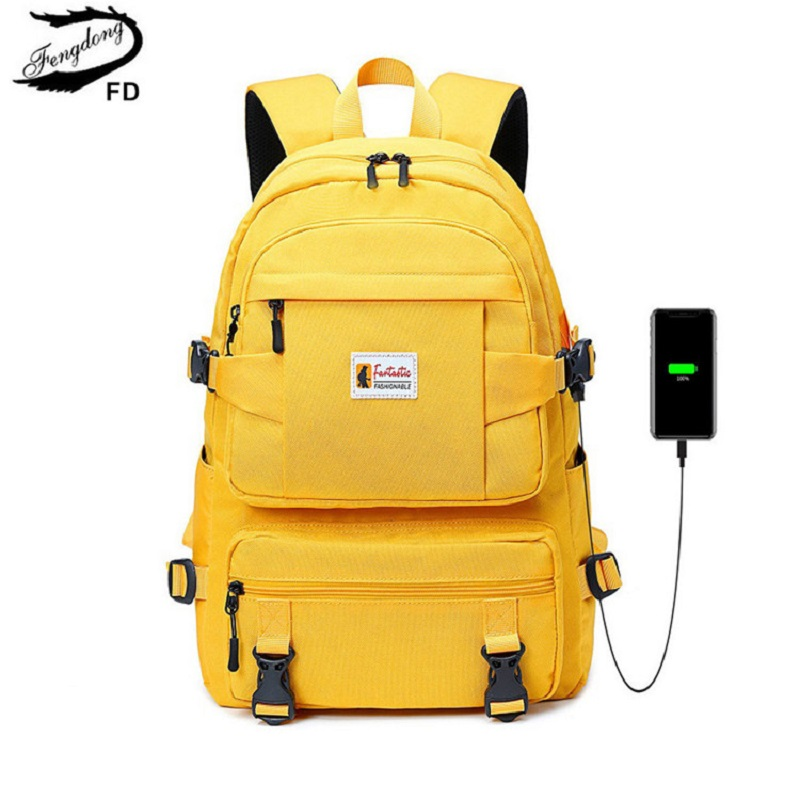 Fengdong Backpack Children Schoolbag Oxford Teenagers Yellow Girls Waterproof Fashion