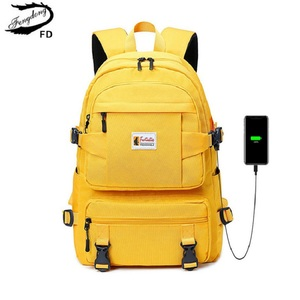 Fengdong fashion yellow backpack children school bags for girls waterproof oxford large school backpack for teenagers schoolbag(China)